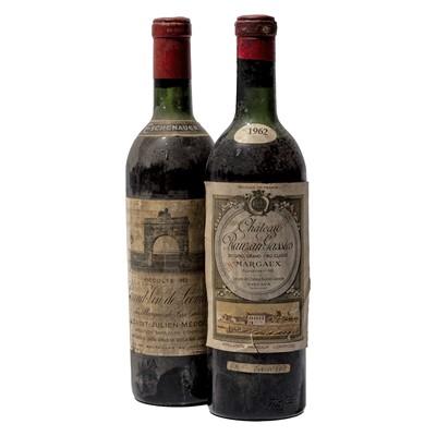 Lot 57 - 2 bottles Mixed 1962 Bordeaux