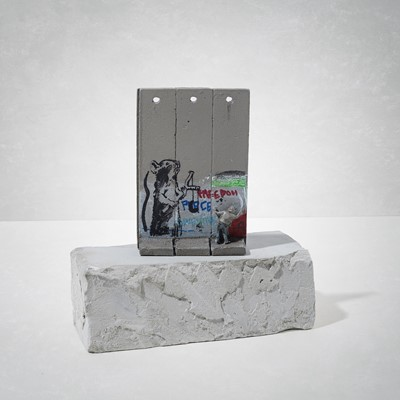 Lot 7 - Banksy (British 1974 -), 'Walled Off Hotel - Three-Part Souvenir Wall Section (Slingshot Rat)'