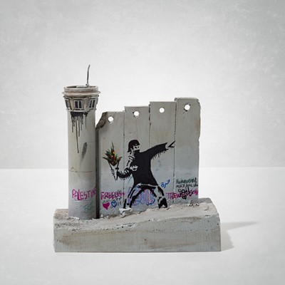 Lot 16 - Banksy (British 1974-), 'Walled Off Hotel - Four Part Souvenir Wall Section With Watch Tower (Flower Thrower)'