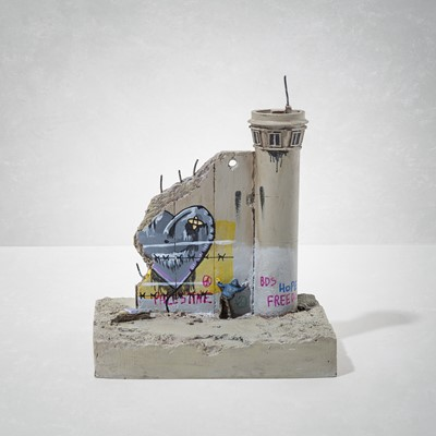 Lot 19 - Banksy (British 1974-), 'Walled Off Hotel - Three-Part Souvenir Wall Section With Watch Tower (Love Hurts)'