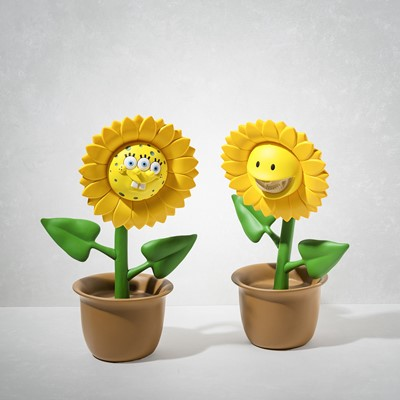 Lot 88 - Ron English (American 1959-), 'Sunflower Sculptures - 3 Eyed Sponge & Grin', 2017