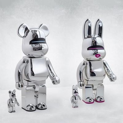 Lot 62 - Hajime Sorayama (Japanese 1947-), 'Sexy Robot Chrome Be@rbrick 400% & 100%/Sexy Robot Chrome R@bbrick 400% & 100%', 2017