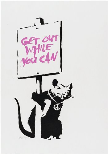 Lot 519-Banksy (British b.1974), 'Get Out While You Can (Pink)', 2004